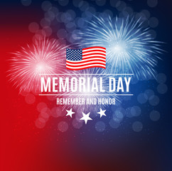 Memorial Day Background Template Vector Illustration