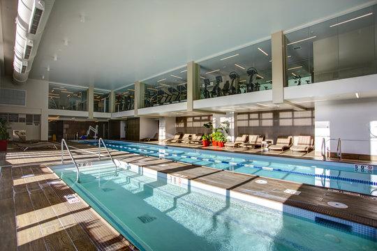 Upscale Indoor swimming pool in condominium complex.