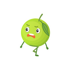 Apple cute cartoon fruit. Vector illustration with funny character.