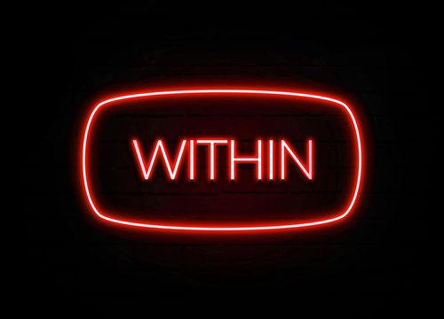 Within neon sign on brick wall background.