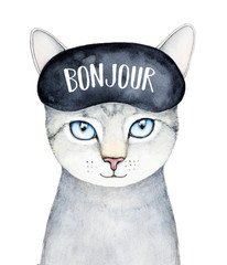 "Grey striped kitty character portrait wearing black sleeping mask with word ""Bonjour"" (greeting in French language). Smiling and sweet. Hand drawn watercolour picture on white background, isolated."