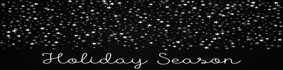 Holiday Season greeting card. Random falling stars background. Random falling stars on black background. Ravishing vector illustration.