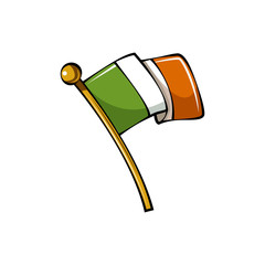 Vector illustration. Flag of Ireland on flagstaff. Location symbol for travelers. Cartoon sticker with contour.
