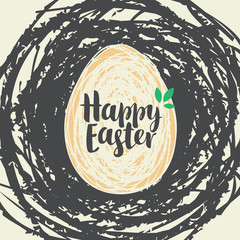 Vector greeting card with Easter egg in birds nest with inscription Happy Easter in retro style