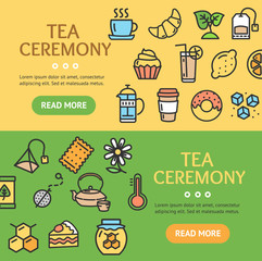 Tea Ceremony Banner Horizontal Set. Vector