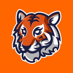 tiger mascot logo template for sport, game crew, company logo, college team logo