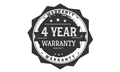 4 years warranty icon vintage rubber stamp guarantee