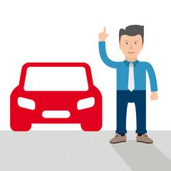 Cartoon Businessman Car Hint