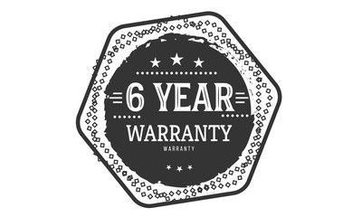6 years warranty icon vintage rubber stamp guarantee