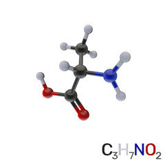 Alanine model molecule. Isolated on white background. 3D rendering illustration.