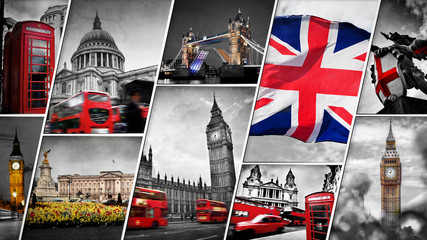 Fond de hotte en verre imprimé Londres bus rouge Collage of the symbols of London, the UK