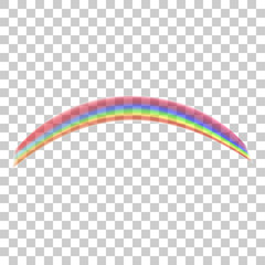 Realistic rainbow icon isolated on transparent background.