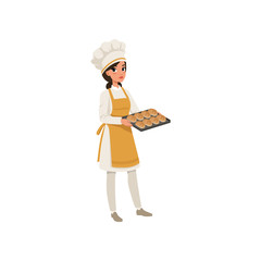 Young female baker character in uniform holding a tray with freshly baked bread vector Illustration on a white background