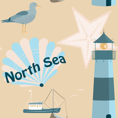 Pattern background. Seamless pattern of North Sea with shells, fisher boat, sea gull and lighthouse in trendy pastel color tones. Text : North Sea