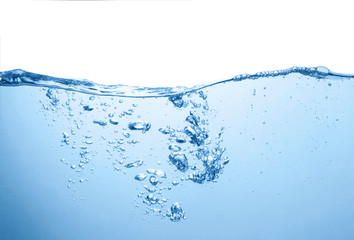 water surface with bubbles and splash isolated in white background