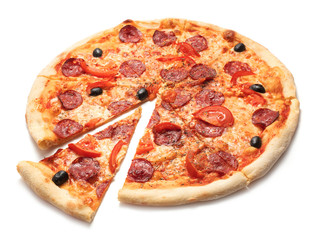 Cadres-photo bureau Pizzeria single pizza isolated on white background