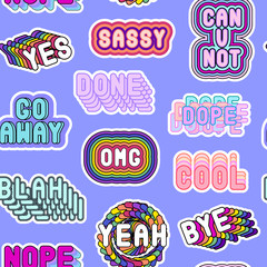 "Seamless pattern with sassy colorful phrases, words: ""Yes"", ""Go away"", ""Sassy"", ""OMG"", ""Nope"", ""Dope"", etc. on blue background. Slang acronyms and abbreviations. 80s-90s comic style."