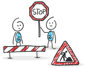 Sticky / Strichmännchen - Baustelle, Umbau, Auftrag, Stop