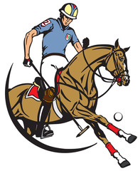 polo player sitting on a pony horseback and holding a long handled wooden mallet to hit a ball . The horse in gallop. Equestrian sport . Vector illustration
