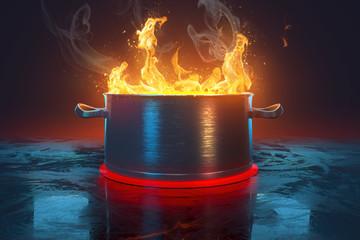 Kochtopf mit Flammen