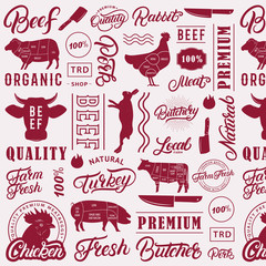 Typographic butchery seamless pattern, background.