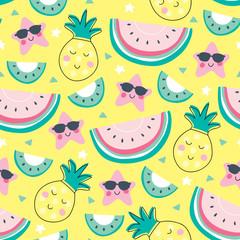 seamless yellow pineapple melon kiwi pattern vector illustration