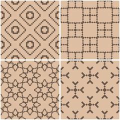 Geometric patterns. Set of beige and brown seamless backgrounds. Vector illustration