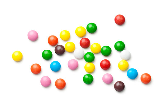 Colorful Chocolate Candy Pills Isolated on White Background