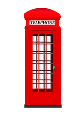 Isolated red phone booth on white background