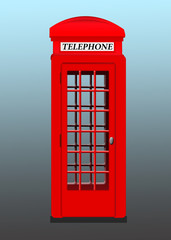 Isolated red phone booth on a background.  red telephone booth .