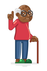 Lineart Old African Adult Grandfather Flat Design Vector Illustration