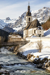 Church of Ramsau in winter with snow