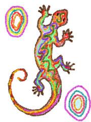 Lucertola etnica - quadro artistico di colori