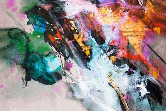 Abstraction. Watercolor, gouache,  paper, gold pigment. Author's technique.