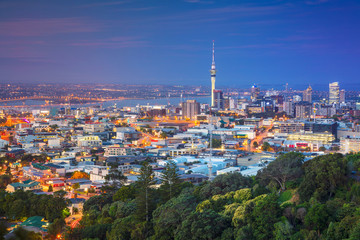 Auckland. Cityscape image of Auckland skyline, New Zealand taken from Mt. Eden at dusk.