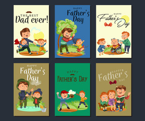 Set happy fathers day greeting card, dad fun with kids, parent of little childrens family vacation, daddy love holiday celebration vector illustration, son and daughter care man with mustache and