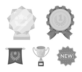 An Olympic medal for the first place, a crystal ball, a gold cup on a stand, a red pendant.Awards and trophies set collection icons in monochrome style vector symbol stock illustration web.