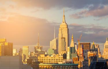 New York City Midtown Skyline with Sunlight Glow