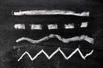 White chalk hand drawing in set of line shape on blackboard background
