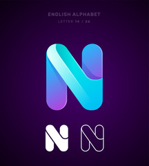 Vector origami alphabet. Letter N logo template. Material design, flat, line, glossy, twisted style
