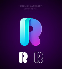 Vector origami alphabet. Letter R logo template. Material design, flat, line, glossy, twisted style