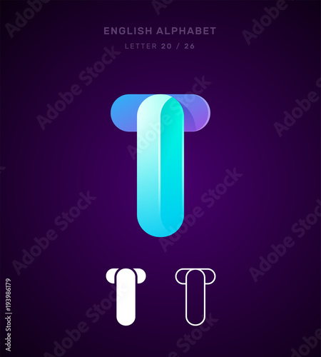 Vector Origami Alphabet Letter T Logo Template Material Design Flat Line