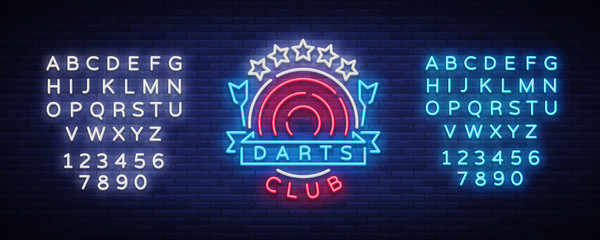 Darts Club Logo in Neon Style. Neon Sign, Bright Night Advertising, Light Banner. Vecton illustration. Editing text neon sign