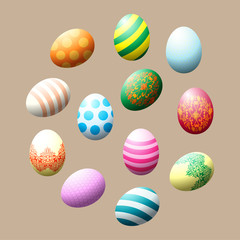 Easter eggs. Set of colored 3d painted eggs. Lace pattern. Vector illustration.