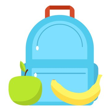 Backpack and lunch icon, flat style