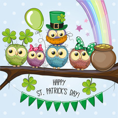 Canvas Prints Owls cartoon St Patricks greeting card with five Owls