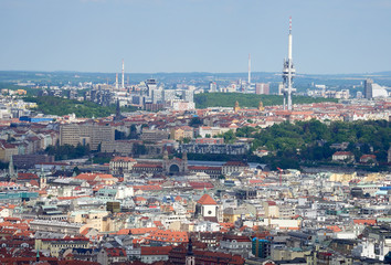 An aerial view of Prague on a sunny day in the Czech Republic.