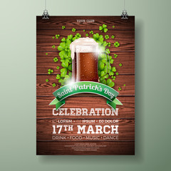 Saint Patrick's Day Party Flyer Illustration with Fresh Dark Beer and Clover on Wood Texture Background. Vector Irish Lucky Holiday Design for Celebration Poster, Banner or Invitation.