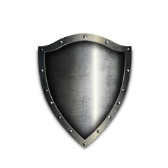 Medieval riveted shield on white background.
