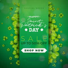 St. Patrick's Day Sale Design, with Clover and Typography Letter on Green Background. Vector Irish Lucky Holiday Design Template for Coupon, Banner, Voucher or Promotional Poster.